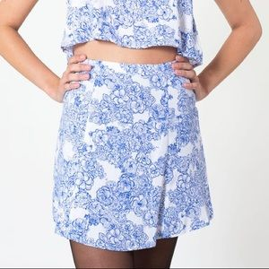 American Apparel Blue Floral Print Lulu Mini Skirt