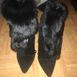 Black rabbit fur ankle boots in great condition
