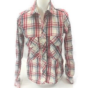 ZARA WOMAN RED BLUE WHITE PLAID BUTTON DOWN SHIRT