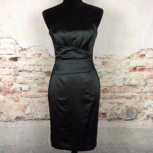 WHBM 2 Black LBD Satin Strapless Mini Dress