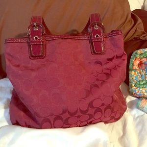 Burgundy coach bag - roomy!