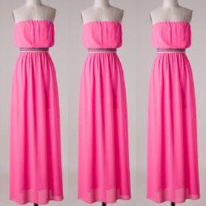 Neon Pink Chiffon Maxi Dress