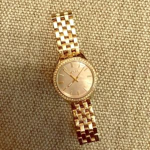 DKNY Gold Link Watch with Stone Rimmed Face