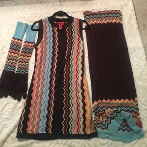 Missoni Dress w/matching gloves and scarf