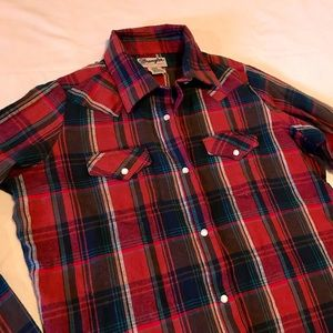 Wrangler Wrancher Plaid Flannel Pearl Snap Shirt S