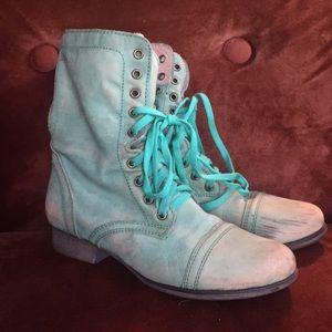 Green Steve Madden Combat Boots