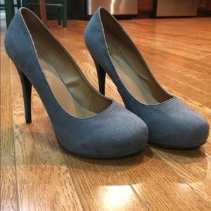 Grey, faux-suede pumps