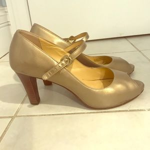 Cole Hahn Peep-toe Gold Maryjanes