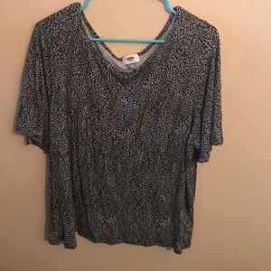 Black printed with white design, Old Navy shirt.