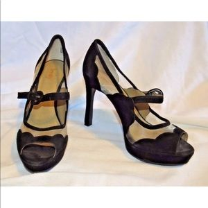 Levity MITZI black suede open toe Mary Jane heel 8
