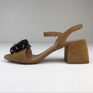 Zara Woman Tan Suede Pom Pom Sandals