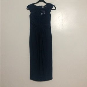 Lace Top Pleated Midi Dress