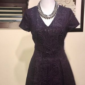 Purple Brocade Banana Republic Dress