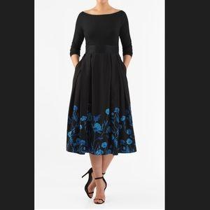New EshaktI Floral Fit & Flare Midi Dress 20W