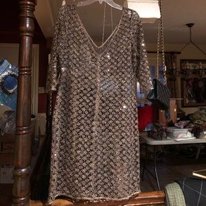 Dresses & Skirts - Vintage lace dress.  Bronze with tiny sequins.