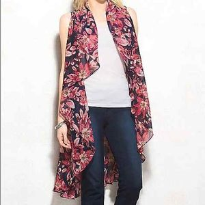 Long navy and pink floral cascade vest