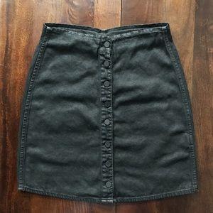 All Saints • black waxed denim skirt