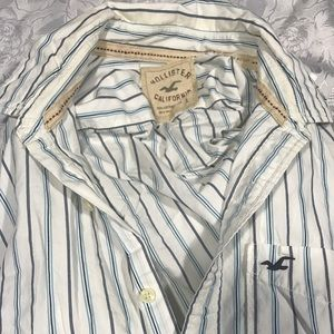 Hollister Button Up Shirt Mens SIZE LARGE Striped