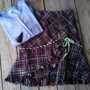 Anthropologie Elevenses Brown Tweed Skirt. Rare!
