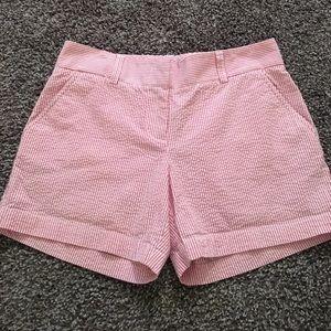 J Crew seersucker shorts pink/white size 2