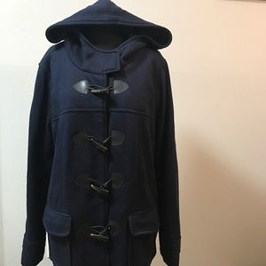 🦋FOREVER 21 Navy Blue hooded pea coat Size 2X🦋💜
