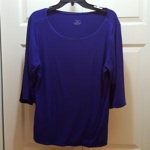 Royal blue knit blouse
