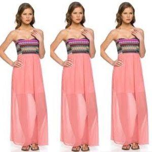 Aztec Coral Chiffon Strapless Maxi Dress