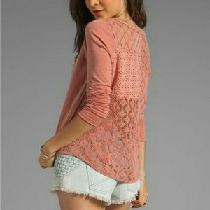 Free People Long Sleeved Dusty Pink Crochet Top