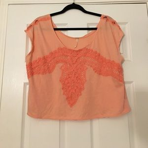 Free people crop peach top size small