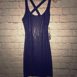Zara black shimmer bodycon cross back strap dress