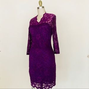 Purple lace Body conscious dress