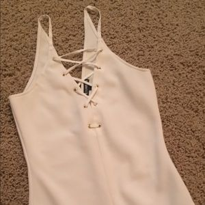 Express creme lace up body suit Sz small
