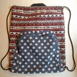 Faded Stars and Stripes Drawstring Backpack