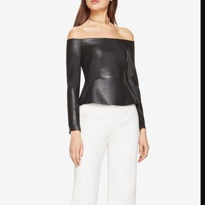 New with tags! BCBG faux leather peplum top XS
