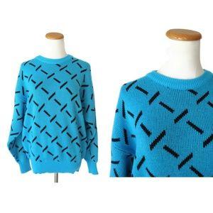 Vintage 80s Turquoise Geometric Print Sweater