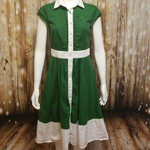 eShakti color-blocked swing midi dress