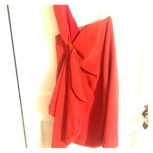 Salmon colored, one shoulder Shoshanna dress