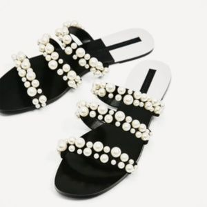 ZARA PEARLY STRAPPY SANDALS