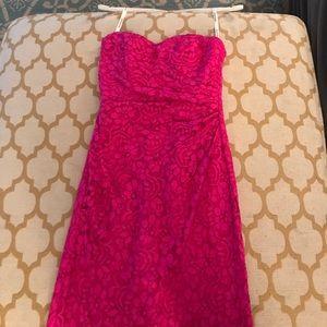 Hot pink long lace dress