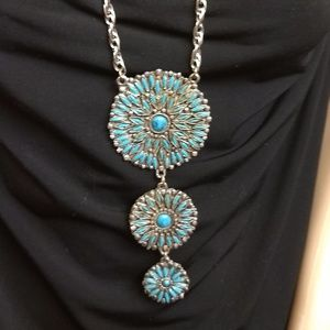 Zuni Faux Turquoise Silver Pendant Necklace Vint.
