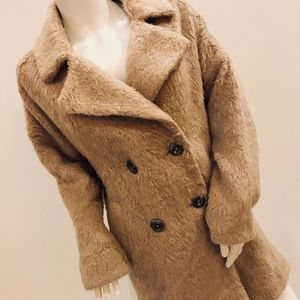FREE PEOPLE FUZZY COAT IN SAND - SIZE XS