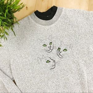 Vintage gray cat pullover sweater