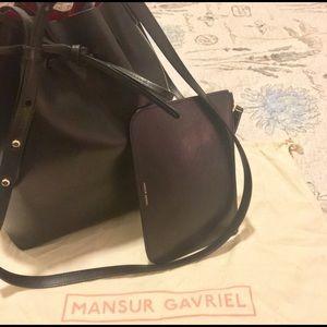 AUTHENTIC Mansur Gavriel Bucket Bag - Black/Red