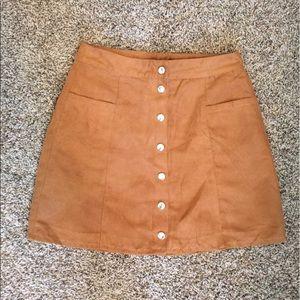Suede button down mini skirt