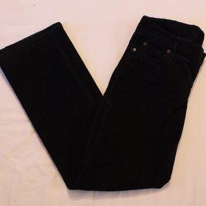 Womens Size 8R Black Corduroy Straight Leg Pants
