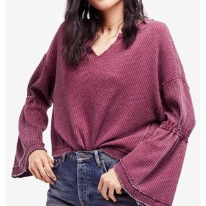 Free people bell sleeve thermal top