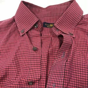 NICE Club Room Mens Red Striped Dress Shirt 16 1/4