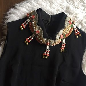 Vintage 1960's Beaded Collar Cocktail Dress