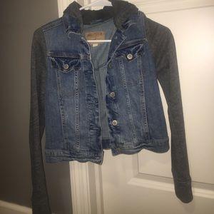 Hollister CROP TOP jean jacket sweatshirt!!