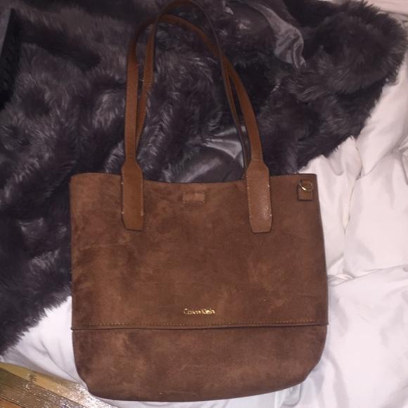 31b356b896f Calvin Klein Bags | Brown Suede Purse W Matching Clutch | Poshmark